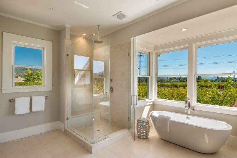 bathroom soaking tub and shower