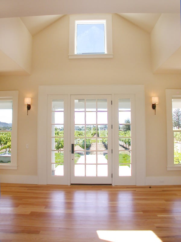 inside entry with vaulted ceiling overlooking vineyard