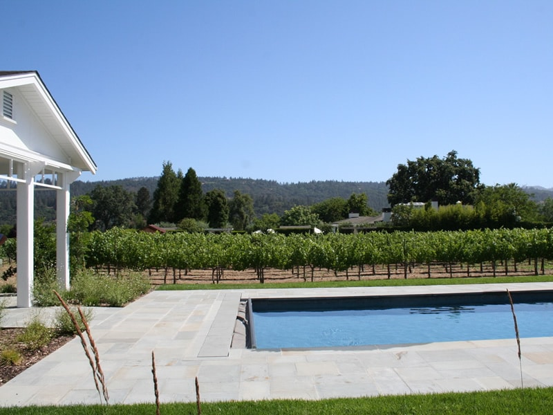 pool with vineyard view