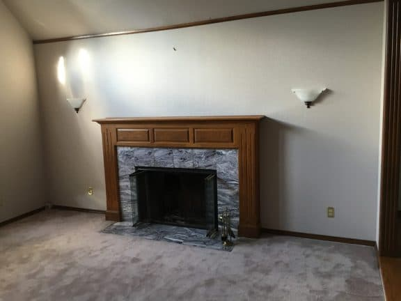 fireplace in family room before remodel
