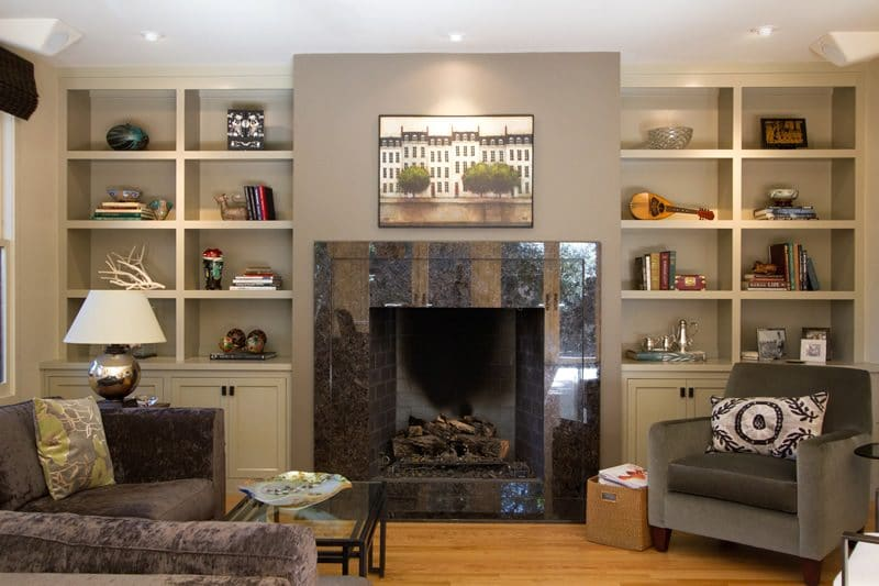 family room builtins and fireplace