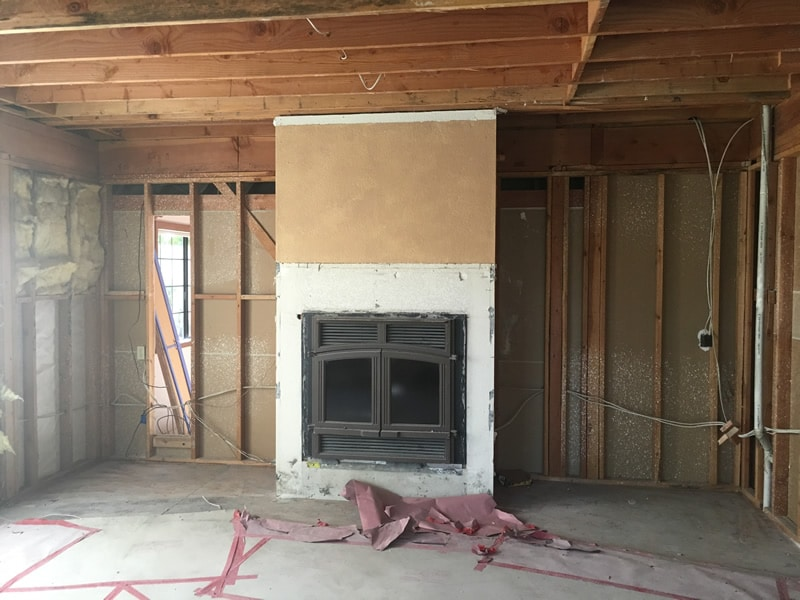 family room fireplace before remodel