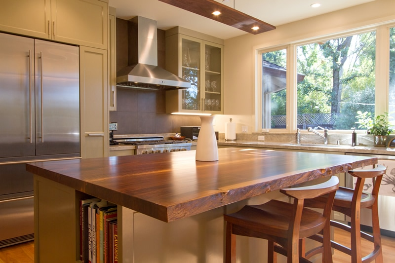 kitchen island walnut slab
