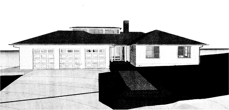 Napa custom home architectural rendering front
